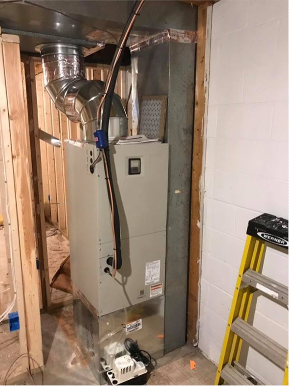 air handler installation unfinished basement