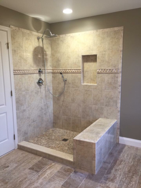 New tile in shower area