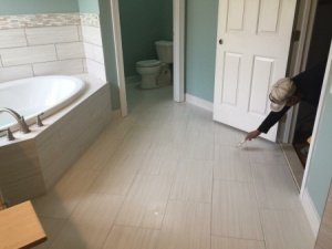 New flooring and tile bathroom installation