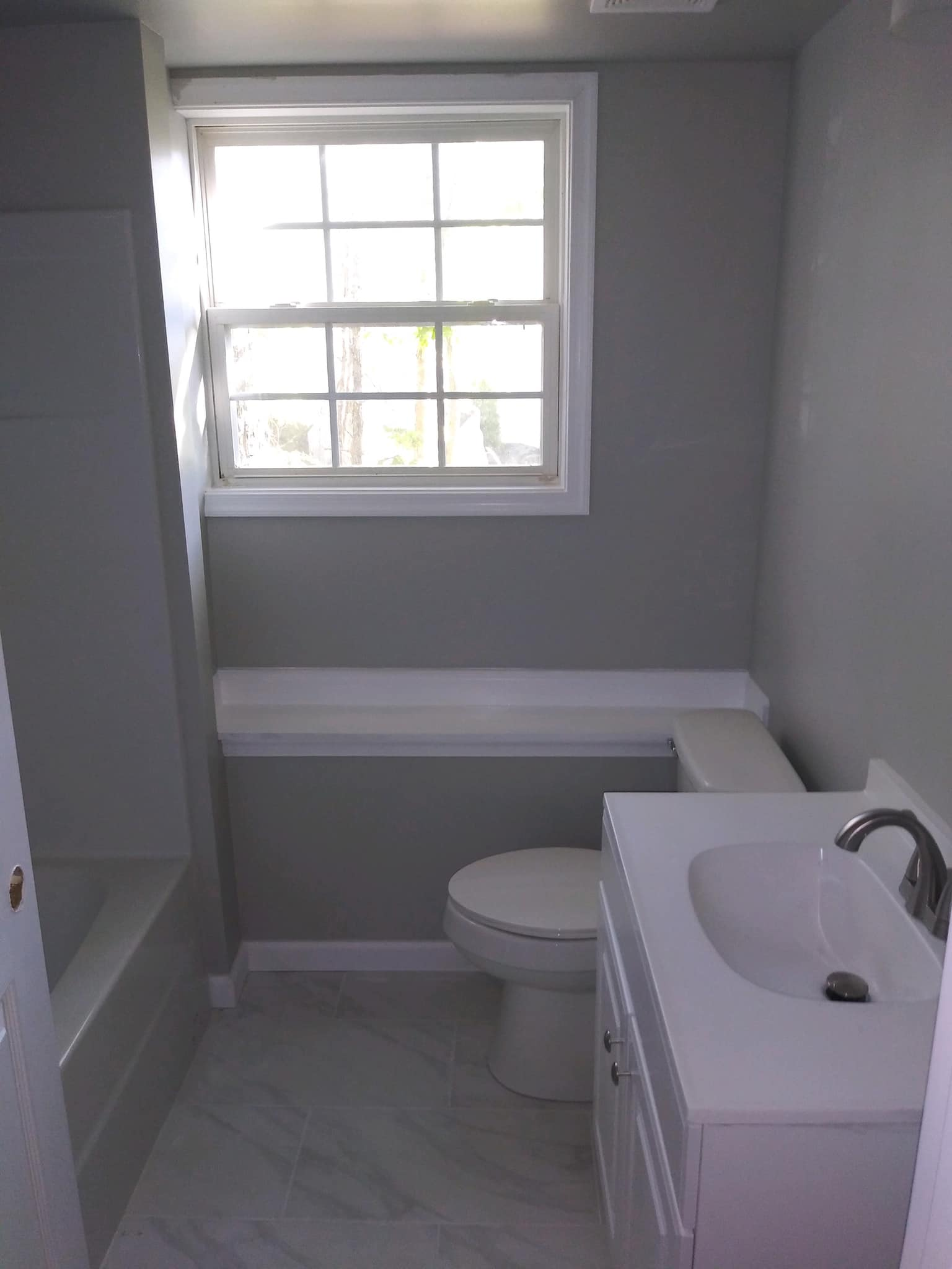 basement bathroom install