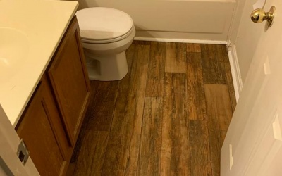 hardwood bathroom floor installation