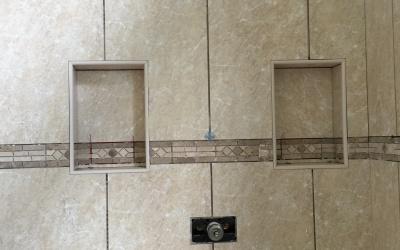 custom shelves shower remodeling