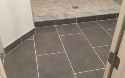 New tile flooring in bathroom