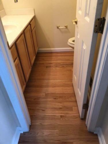 Bathroom Wood Floor Installation